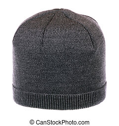 One knit hat - One gray knit hat isolated on white...