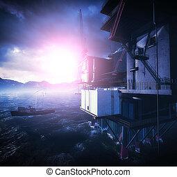 Oil rig  platform in arctic sea