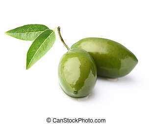 Two olives on a white background
