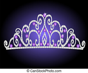 of women's tiara crown wedding with purple stones -...