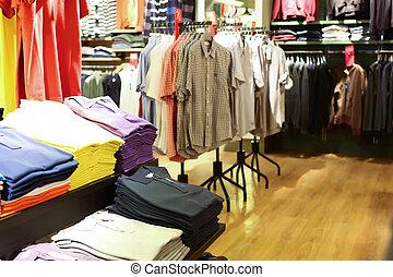 Interior, roupa, loja