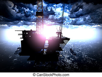 Oil rig  platform in arctic sea