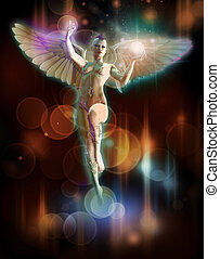 Lightbringer - a naked angel with white wings and a glowing...