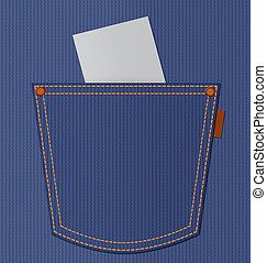 Blank paper in blue jeans pocket with empty space