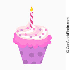 The birthday cupcake - Birthday cupcake with pink cream and...