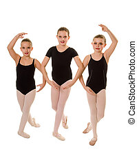 Ballerina Dancers in Class - Three Ballet Student Dancers...
