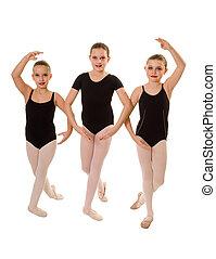 Ballerina Dancers in Class - Three Ballet Student Dancers...