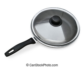 Frying Pan With Closed Lid On A White Background
