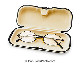 Glasses - Old Glasses In The Spectacle Case Over White