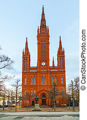 Marktkirche in Wiesbaden, Germany in late afternoon light
