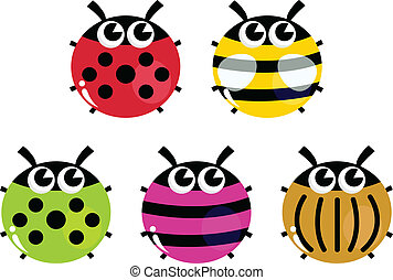 Colorful cartoon insects set isolated on white - Various...