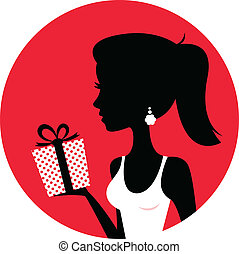 Silhouette of beautiful woman holding present isolated on red