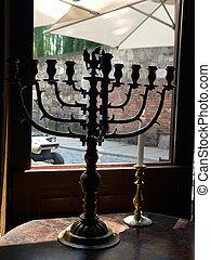 templo, candelabro, Menorah, emblema, since, judaísmo,...