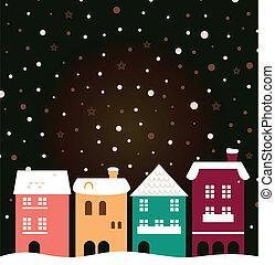 Colorful christmas city houses with snowing behind - Retro...