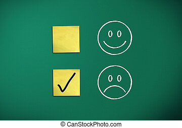 negative feedback rapresentated by emoticons on green chalk...