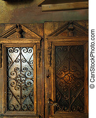 old wooden door. The interior apartments of the thirties of...
