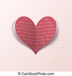 Greeting card with paper heart - Vector paper heart with...