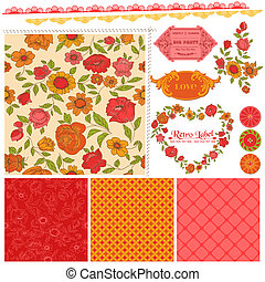 Scrapbook Design Elements - Orange Flowers and Poppies in...
