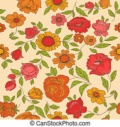 Seamless Vintage Flower Background - for design and...