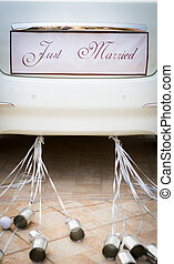 Wedding car with beautiful decorations