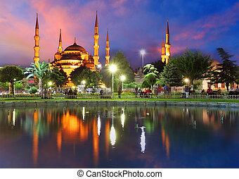 azul, mezquita, Estambul, -, pavo