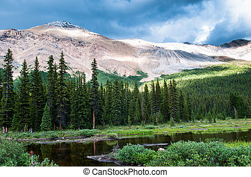 Mountain scenery with small pond in Banff national park,...