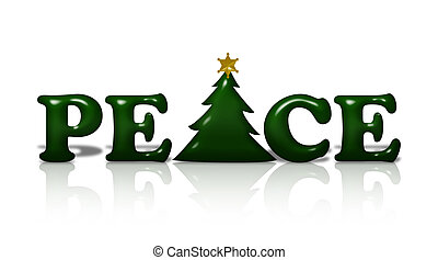 Peace at Christmas Time - The word Peace in green with a...