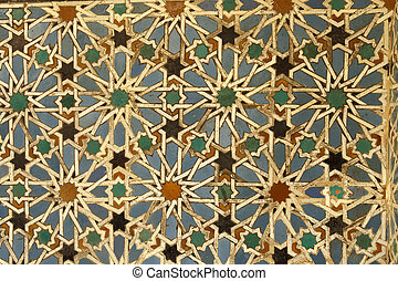 Ceramic wall tiles in the Real Alcazar in Seville, Spain