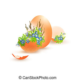 Easter Egg With Flowers and Egg Shells Over White Background