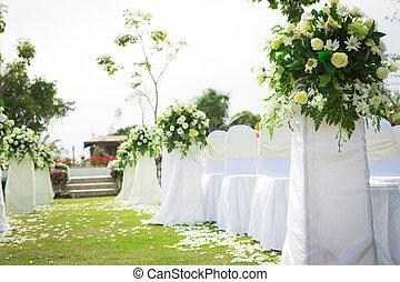 bröllop, ceremoni, vacker, Trädgård