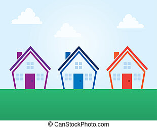 Houses Colors Outline Abstract - Various colored outline...