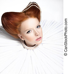 Beautiful Red Head Duchess in Jabot - Retro Style Dramatic...