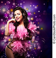 Sparking Shiny Happy Woman Dancing - Fancy Dress Party Disco...
