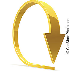 Golden bent arrow - download icon