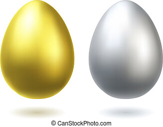 Golden and silver eggs realistic vector illustration.