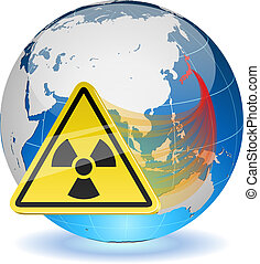 Earth globe with radiation hazard sign. Japanese radioactive...