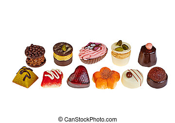 luxury chocolate assorted on white background