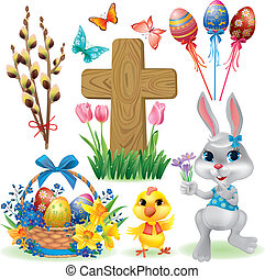 Easter symbols set. Contains transparent objects. EPS10