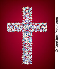 Cross of Diamonds. Contains transparent objects. EPS10