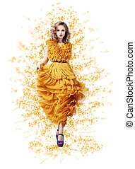 Classy Graceful Shiny Woman in Trendy Modern Yellow Vernal...
