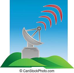 transmitter and waves - gray metal transmitter sending...