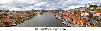Porto, Portugal - Panorama of Porto, Portugal. Evening time.