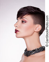 Aristocratic Profile of Modern Imposing Woman - Short Hairs,...