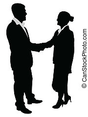 business people handshake - vector