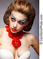 Theatre. Classy Woman with Fantastic Stagy Colorful Makeup. Fantasy