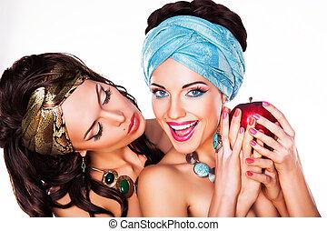 concetto, mela, sano,  -, due, cibo, presa a terra, Donne, Felice