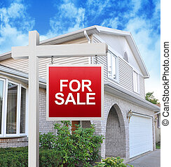 Home for Sale Sign - A home is advertising a for sale sign...