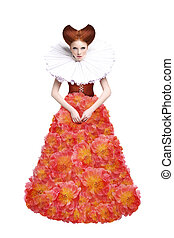 Red Hair Duchess Retro Fashion Woman in Classic Jabot...