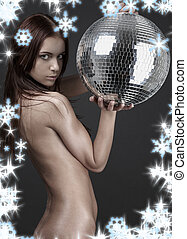 wild thing with glitterball - christmas picture of muscular...
