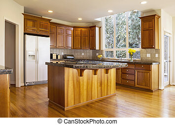 Large Daylight Kitchen - Modern Kitchen with Red Oak wooden...